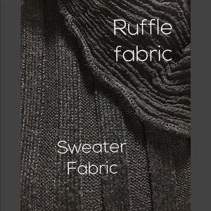 JENNINGS Sweaters - Black Lace Ruffle V-neck Long Sleeve Cardigan